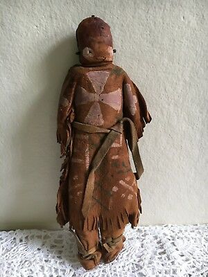 Antique Native American Indian Doll Painted Leather 10""