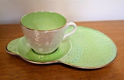 Vinatge Maling Green Lustre Cup & Tennis Saucer in Nice Condition