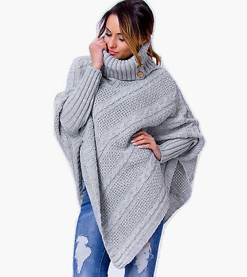 Women's Ladies Poncho Warm Knitted Jumper Sweater Cape with Sleeves