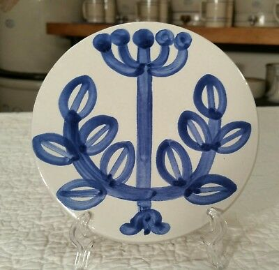 M.A. Hadley Stoneware Pottery Round Trivet/Wall Hanger - Blue Herb