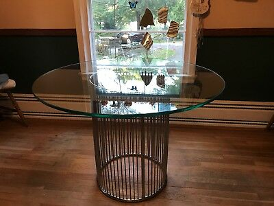 VINTAGE CHROME & GLASS DINETTE SET c1960s/1970s IN THE STYLE OF WARREN PLATNER
