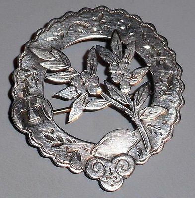 Vintage 19th Century Antique 925 Sterling Silver Pin Art Nouveau Brooch
