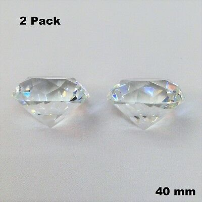 40mm 2 Pieces Set Clear Diamond Cut Crystal Glass Paperweight Jewel Collectible
