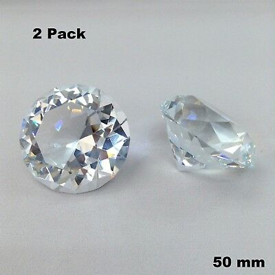 50mm 2 Pieces Set Clear Diamond Cut Crystal Glass Paperweight Jewel Collectible
