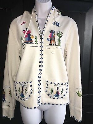 Lucky Brand Hoodie Embroidered Soutwestern Cactus Mexico Sz L Larg