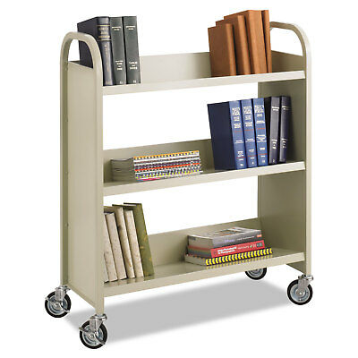 Safco Steel Book Cart Three-Shelf 36w x 14-1/2d x 43-1/2h Sand 5358SA