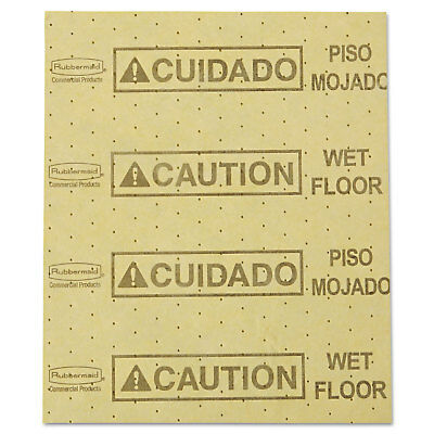 "Rubbermaid Commercial Over-the-Spill Pad ""Caution Wet Floor"" Yellow 16 1/2"" x 20"