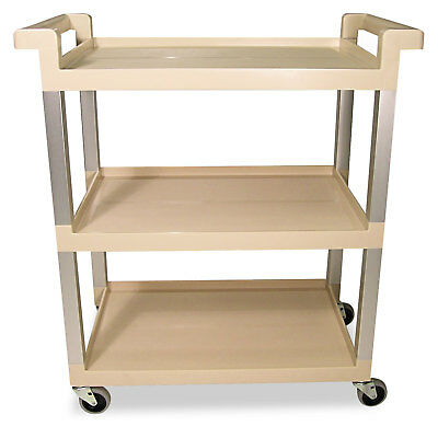 Rubbermaid Commercial Three-Shelf Service Cart w/Brushed Aluminum Upright 16-1/4