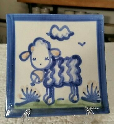 M.A. Hadley Stoneware Pottery square Trivet - blue Country Lamb