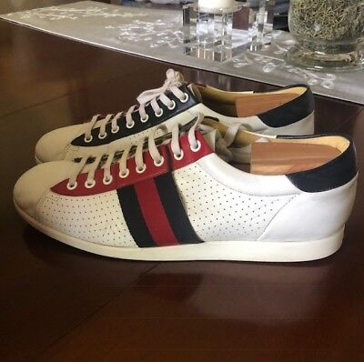 3791c0dbf6f Gucci mens sneakers size 11 white with blue and red stripes bowling retro  style!