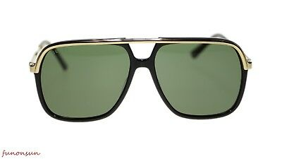 485ff2d898 NEW Gucci Men Sunglasses GG0200S 001 Black Gold Green Lens 57mm Authentic