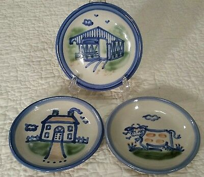 M.A. Hadley Stoneware Pottery Coasters - Lot of 3