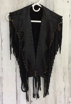 Handmade Black Soft Leather Vest Adult M  With Fringes & Beads