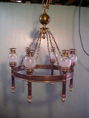 Vintage Solid Brass Gas Light Style Hanging Chandelier - With (6) Frosted Globes