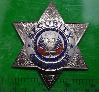 Unissued Security Officer Silver 6-Point Star Badge Real Metal Made In Usa