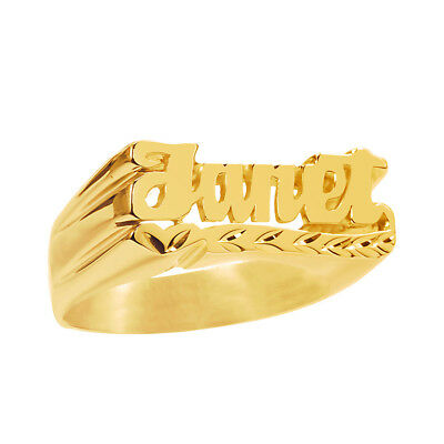 Personalized Sterling Silver Name Ring Diamond Cut / Any Name / Gold Plated