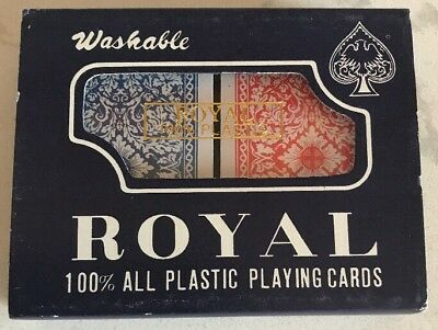 ROYAL 100% ALL PLASTIC PLAYING CARDS WASHABLE 2 DECKS NEW SEALED VTG Red & Blue
