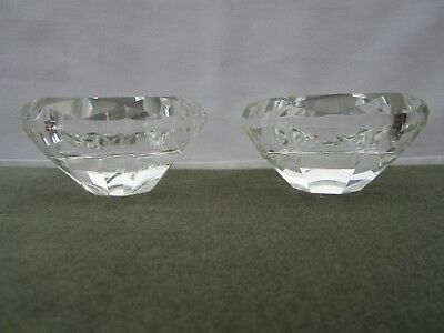 Heavy Faceted Crystal Candle Stands x 4 - 2 sizes