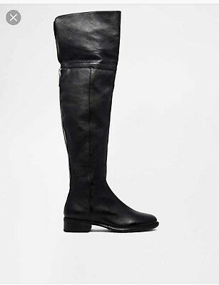 Dune Torz Black Leather Over The Knee Boot Size 5