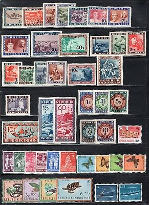 Indonesia 1940's-80's Group of 73 Stamps + 2 Souvenir Sheets All MNH
