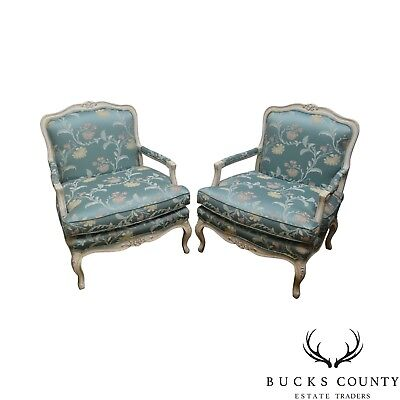 French Louis XV Style Pair of White Painted Fauteuils Lounge Chairs