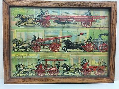 Antique Framed Fire Truck Puzzle