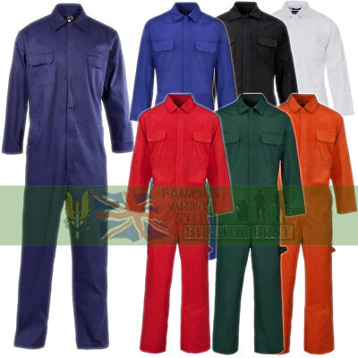 Mens Ladies Boilersuit Overall Coverall Workwear Mechanics Stud Front Protective
