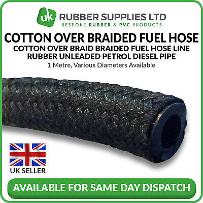 Cotton Over Braided Rubber Petrol Fuel Line Diesel Oil Tubing Hose Pipe Tube 1M