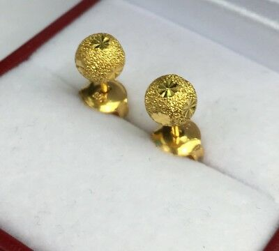 24k Solid Pure Gold Shiny 6mm Ball Stud Earrings 2 26 Grams