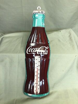 Old Robertson metal Coca-Cola bottle shaped 1950's advertising thermometer, soda