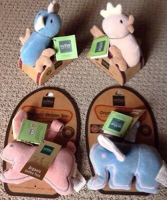 4 NEW Miyim Simply Organic Cotton Rattles Ring & Stroller / Crib -Baby Toys 0+UP