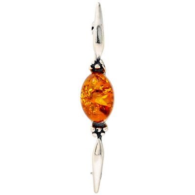Sterling Silver Oval Cabochon Russian Baltic Amber Brooch Pin, 13/16 inch wide