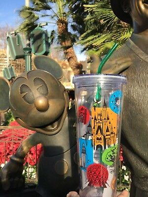 Disney Parks Starbucks Attractions Acrylic Drink Tumbler Cup with Straw 24 oz