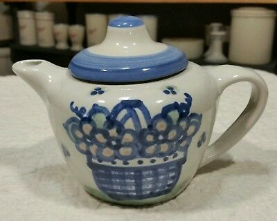M.A. Hadley Stoneware Pottery Child Size Teapot with Lid - Blue Bouquet