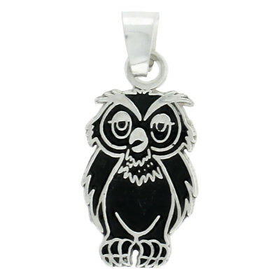 Sterling Silver Owl Pendant, 13/16 inch tall
