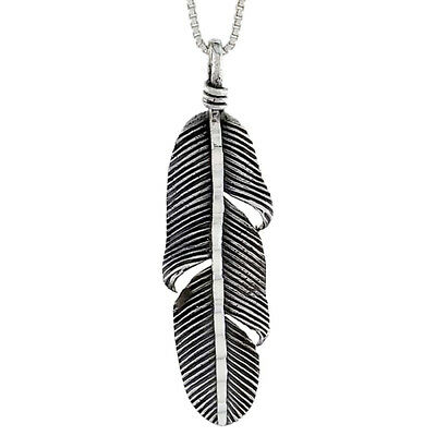 Sterling Silver Feather Pendant, 1 1/2 inch tall