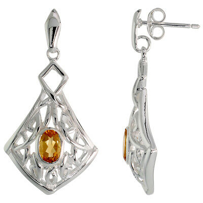 Sterling Silver Celtic Quaternary Knot Earrings with Natural Citrine 1 1/4 inch