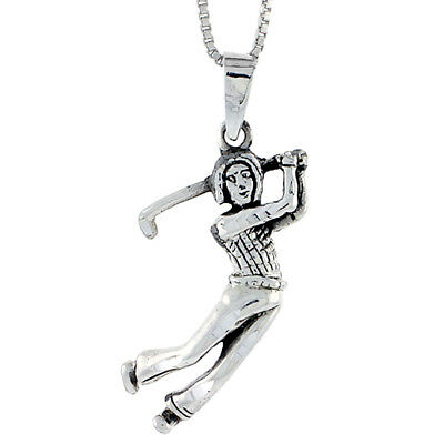 Sterling Silver Lady Golfer Pendant, 1 1/4 inch tall