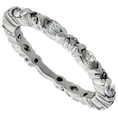 Sterling Silver Cubic Zirconia Eternity Band Ring Marquise Cut 4x2mm Rhodium