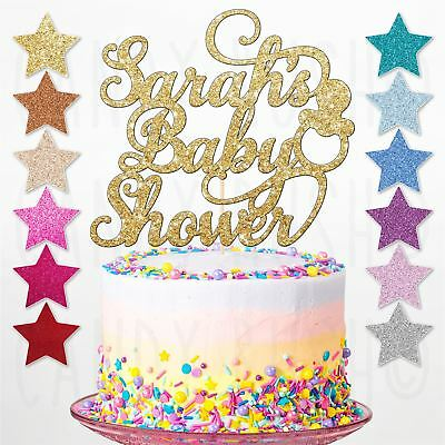 Custom Personalised Glitter Baby Shower Party Cake Toppers Decorations Gender