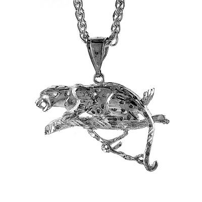 Sterling Silver Leopard Pendant, 1 3/16 inch tall