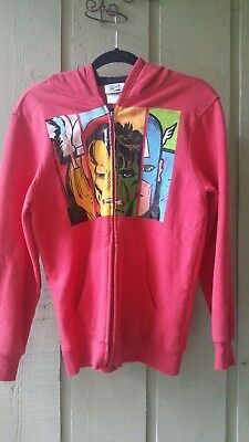 Marvel Comics Kids Size XL Sweatshirt Heather Red Comics Face Hoodie  Zip Front