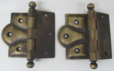 """Vintage 2-Antique Brass Butterfly Ornate Sweetheart Door Hinges Ball Tip 3 1/2"""""""