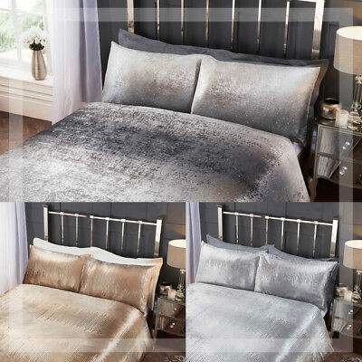 Luxury Crushed Velvet Sequin Effect & Stardust Duvet Quilt Cover Bedding Sets