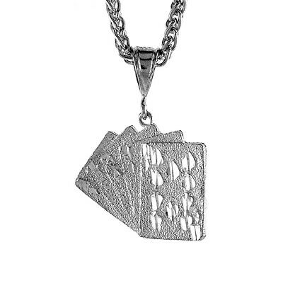 Sterling Silver Small Royal Flush Pendant, 15/16 inch tall