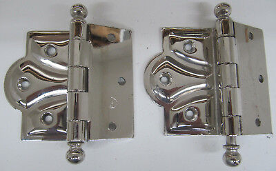 Vintage 2- Chrome Butterfly Ornate Sweetheart Door Hinges Ball Tip 3 1/2""