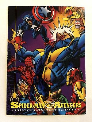 Spider-Man Fleer Marvel Greatest Team-ups Card #85 The Avengers