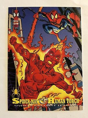 Spider-Man Fleer Marvel Greatest Team-ups Card #93 Human Torch