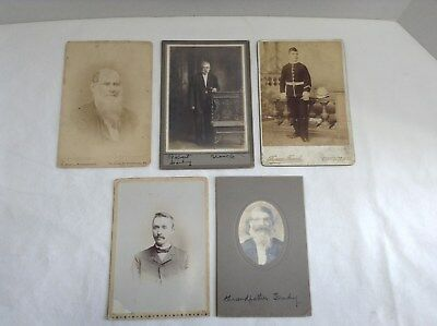 Lot of 5   Victorian Mens  Assorted Photographs/portraits Cabinet Photos