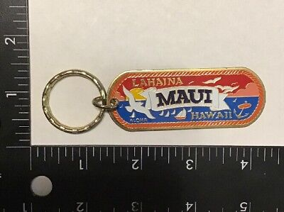 Vintage Hawaii State Travel Souvenir Two Sided Maui Keychain Aloha Rare HI